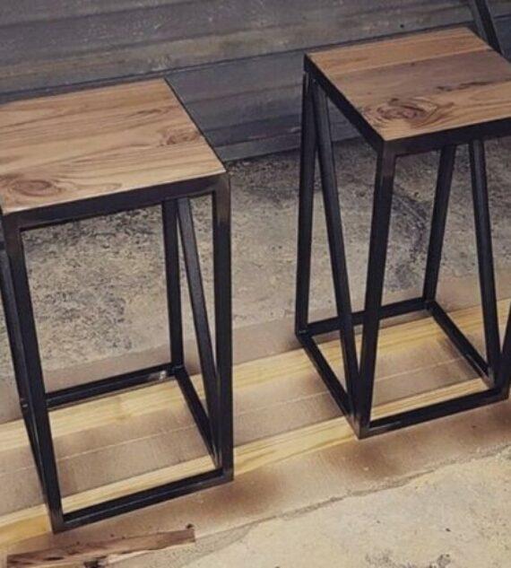 Sgabello Seduta in ferro E Legno design Industriale/moderno